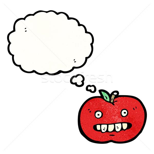 Brutto mela cartoon faccia retro pallone Foto d'archivio © lineartestpilot