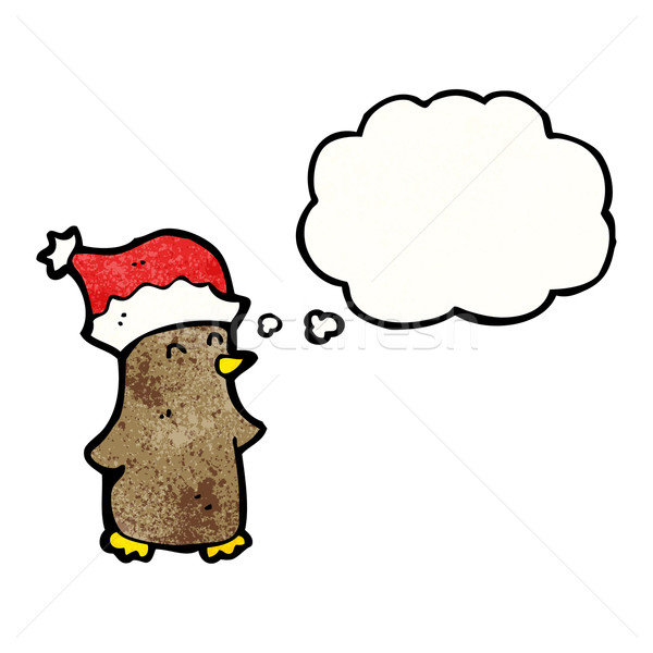 cartoon robin in christmas hat Stock photo © lineartestpilot
