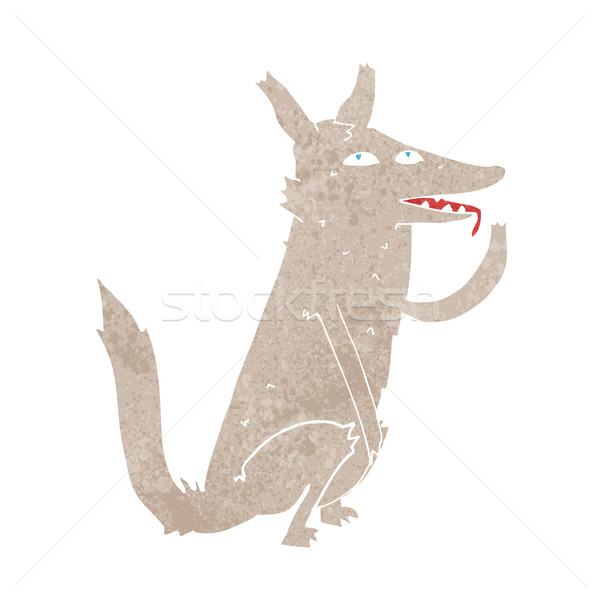 cartoon wolf licking paw Stock photo © lineartestpilot