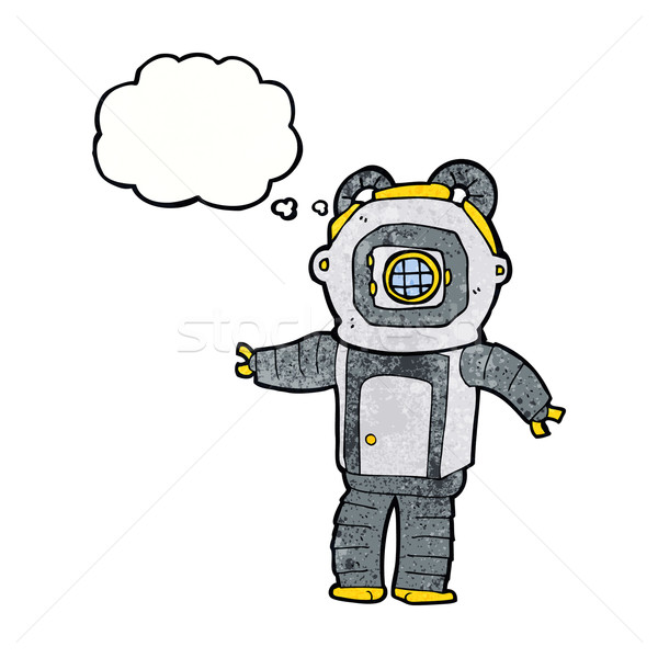 cartoon deep sea diver  with thought bubble Stock photo © lineartestpilot