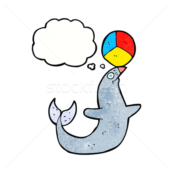 cartoon performing seal with thought bubble Stock photo © lineartestpilot