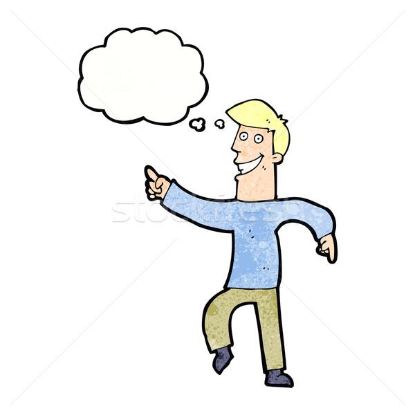 Karikatur grinsend Mann Gedankenblase Hand glücklich Stock foto © lineartestpilot