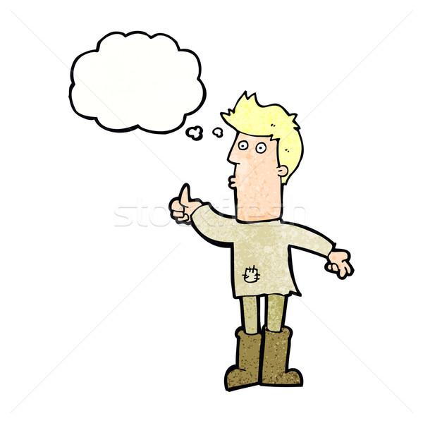 Cartoon ubogich człowiek bubble myśl strony projektu Zdjęcia stock © lineartestpilot