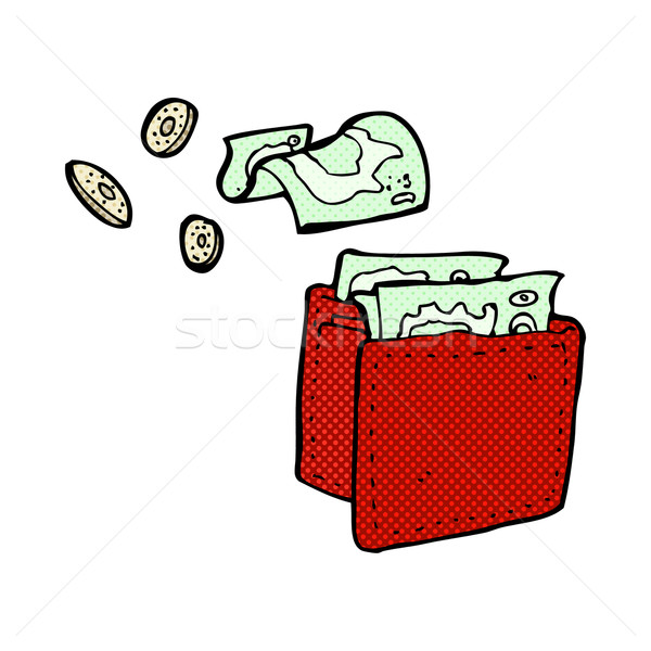 comic cartoon wallet spilling money Stock photo © lineartestpilot