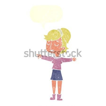 Cartoon nieśmiała kobieta bubble myśl strony projektu Zdjęcia stock © lineartestpilot