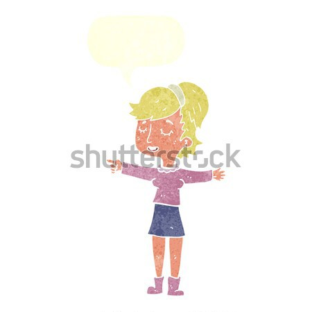 Cartoon tímido mujer burbuja de pensamiento mano diseno Foto stock © lineartestpilot