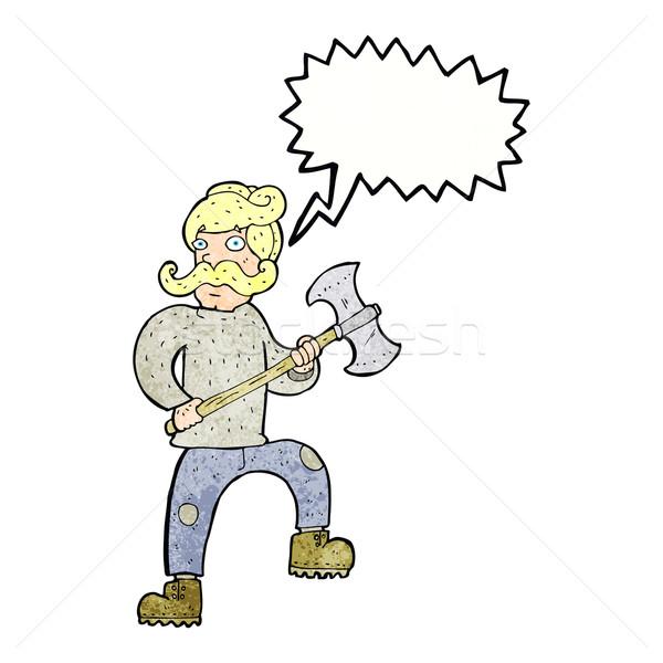 Cartoon человека топор речи пузырь стороны дизайна Сток-фото © lineartestpilot