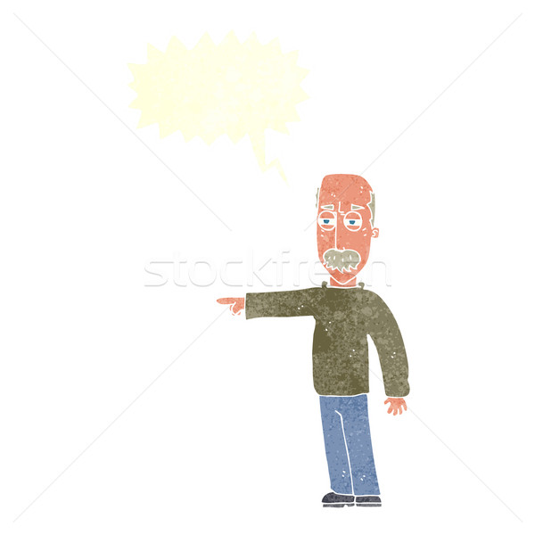 cartoon old man gesturing Get Out! with speech bubble Stock photo © lineartestpilot