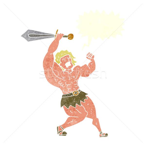 cartoon barbarian hero with speech bubble Stock photo © lineartestpilot