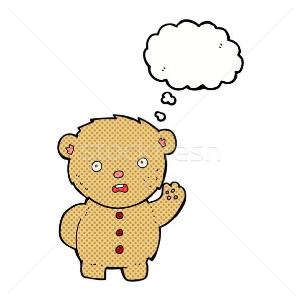 Desenho animado infeliz ursinho de pelúcia balão de pensamento mão projeto Foto stock © lineartestpilot