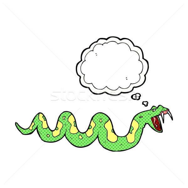 Cartoon venenoso serpiente burbuja de pensamiento mano diseno Foto stock © lineartestpilot