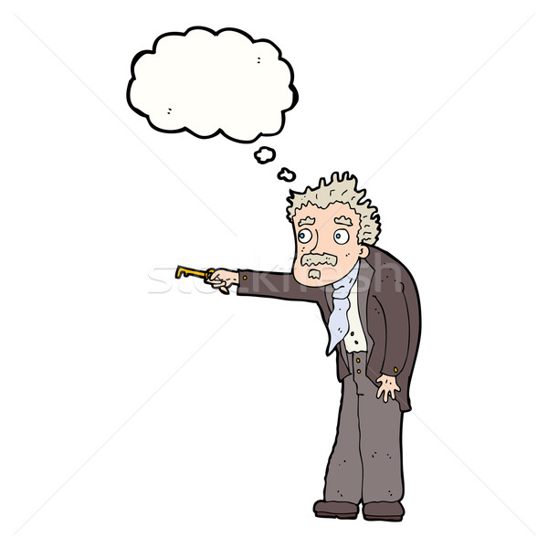 cartoon man trembling with key unlocking with thought bubble Stock photo © lineartestpilot