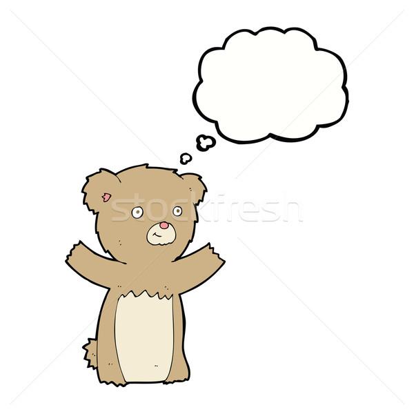 Desenho animado ursinho de pelúcia balão de pensamento mão projeto arte Foto stock © lineartestpilot