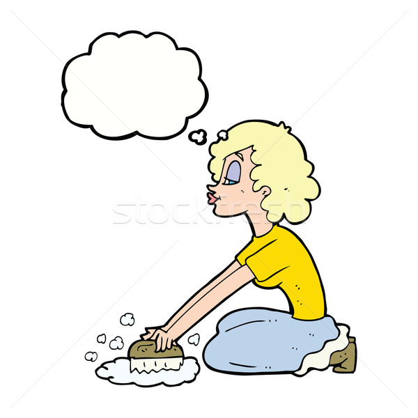cartoon woman scrubbing floor with thought bubble Stock photo © lineartestpilot
