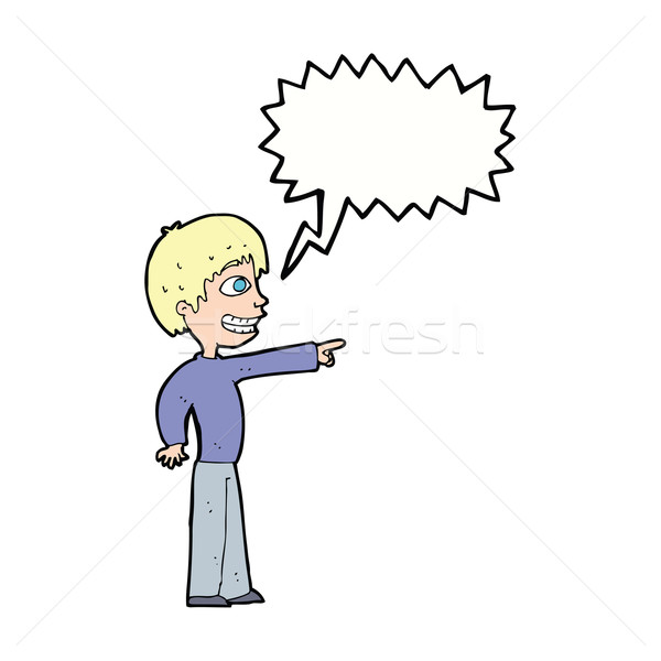 cartoon grinning boy pointing with speech bubble Stock photo © lineartestpilot