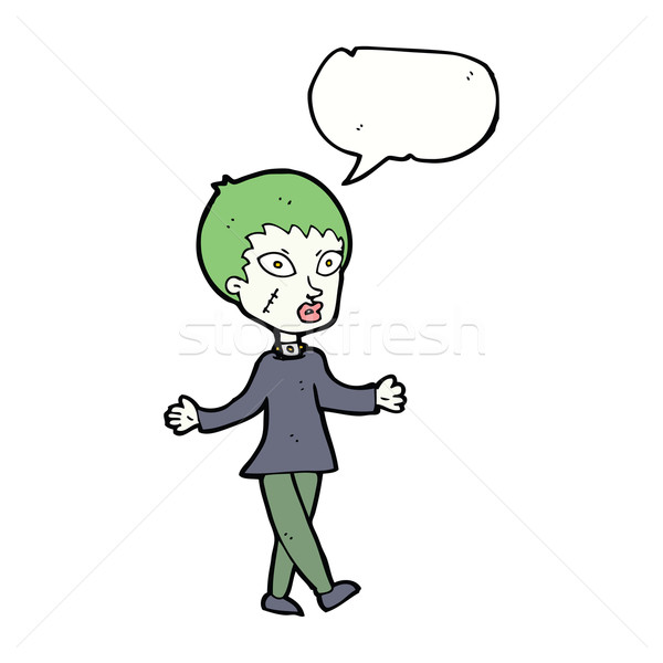 cartoon halloween zombie woman with speech bubble Stock photo © lineartestpilot