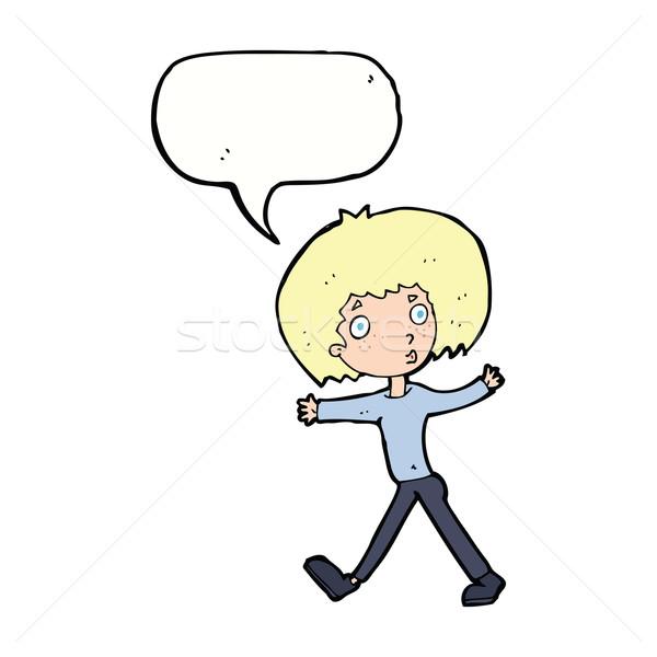 Cartoon verwonderd man lopen tekstballon hand Stockfoto © lineartestpilot