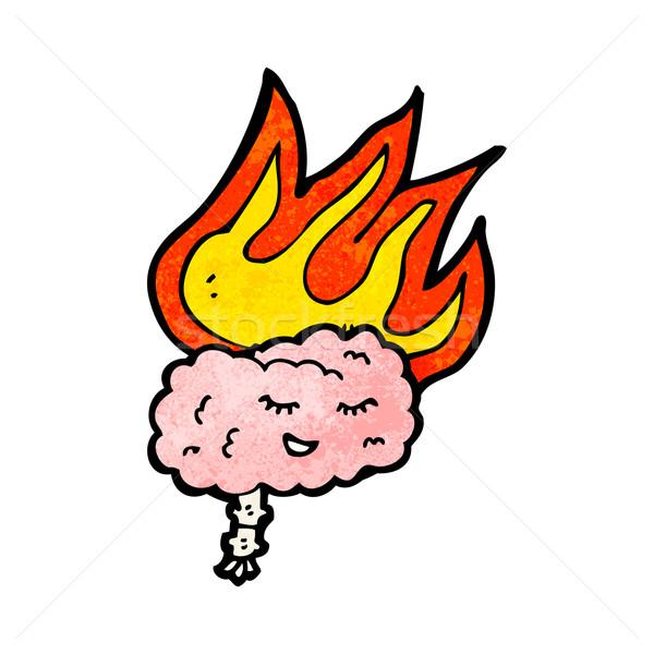 Foto stock: Desenho · animado · cérebro · fogo · retro · desenho · bonitinho