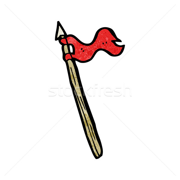 cartoon spear with flag Stock photo © lineartestpilot