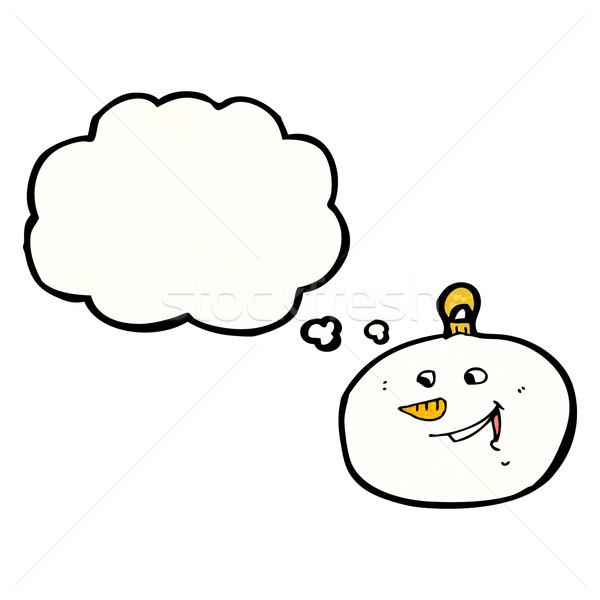 Cartoon muñeco de nieve cara chuchería retro dibujo Foto stock © lineartestpilot
