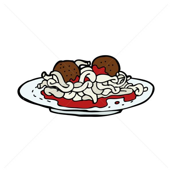 Rajz spagetti húsgombócok étel terv művészet Stock fotó © lineartestpilot