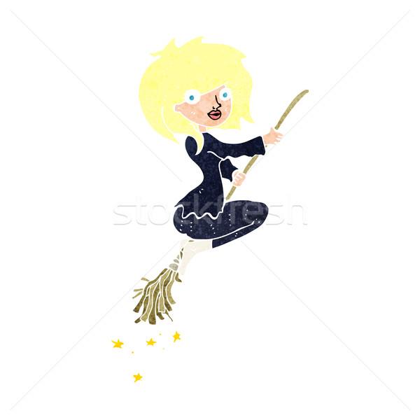 Desenho animado bruxa equitação cabo de vassoura projeto arte Foto stock © lineartestpilot
