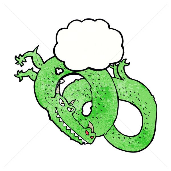 Cartoon draak gedachte bel hand ontwerp gek Stockfoto © lineartestpilot