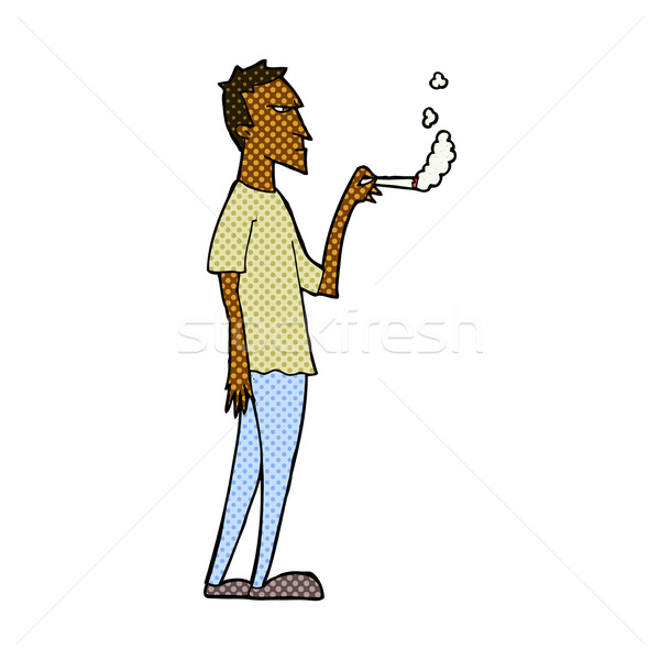 Dessinées cartoon agacé fumeur rétro Photo stock © lineartestpilot