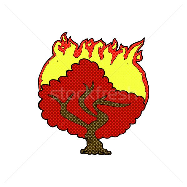 Komische cartoon brandend boom retro Stockfoto © lineartestpilot