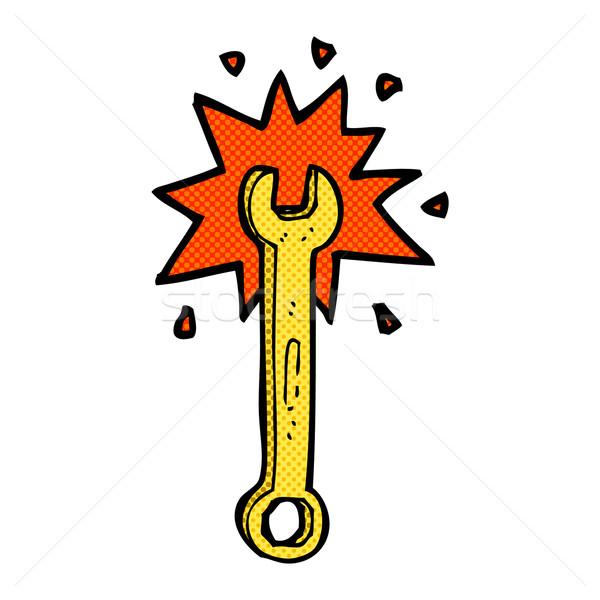 комического Cartoon гаечный ключ ретро стиль Сток-фото © lineartestpilot