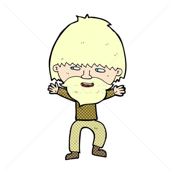 Cómico Cartoon feliz hombre barba retro Foto stock © lineartestpilot