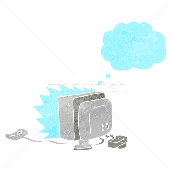 Cartoon computerspel gedachte bel computer hand ontwerp Stockfoto © lineartestpilot