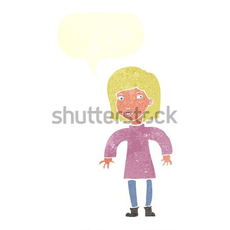 cartoon cautious woman with thought bubble Stock photo © lineartestpilot
