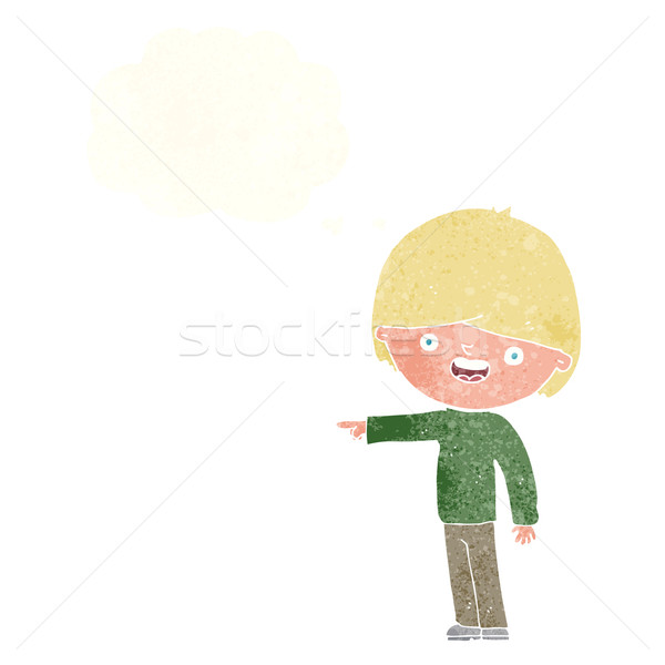 Cartoon uomo punta bolla di pensiero mano design Foto d'archivio © lineartestpilot