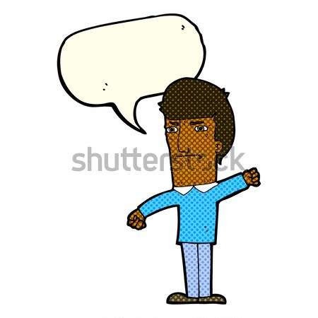 Cartoon nerveus man gedachte bel hand ontwerp Stockfoto © lineartestpilot