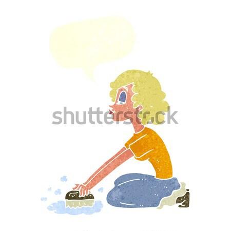 Cartoon женщину полу мысли пузырь стороны счастливым Сток-фото © lineartestpilot
