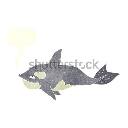Karikatür katil balina düşünce balonu el dizayn Stok fotoğraf © lineartestpilot