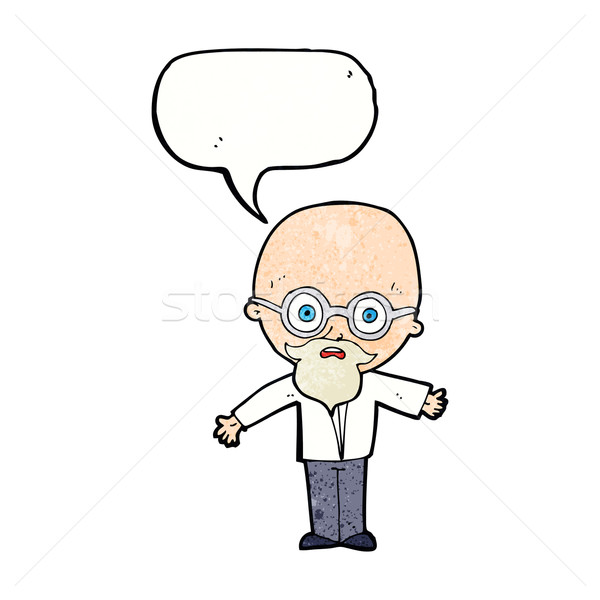cartoon genius scientist with speech bubble Stock photo © lineartestpilot