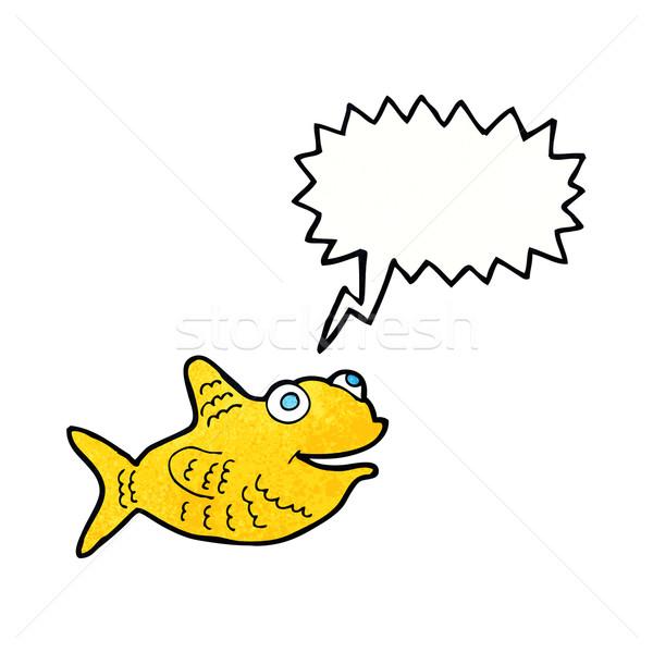 Cartoon gelukkig vis tekstballon hand ontwerp Stockfoto © lineartestpilot