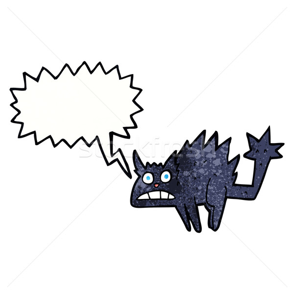 cartoon frightened black cat with speech bubble Stock photo © lineartestpilot