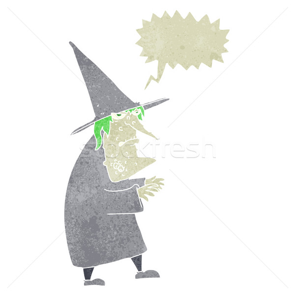 cartoon ugly old witch with speech bubble Stock photo © lineartestpilot