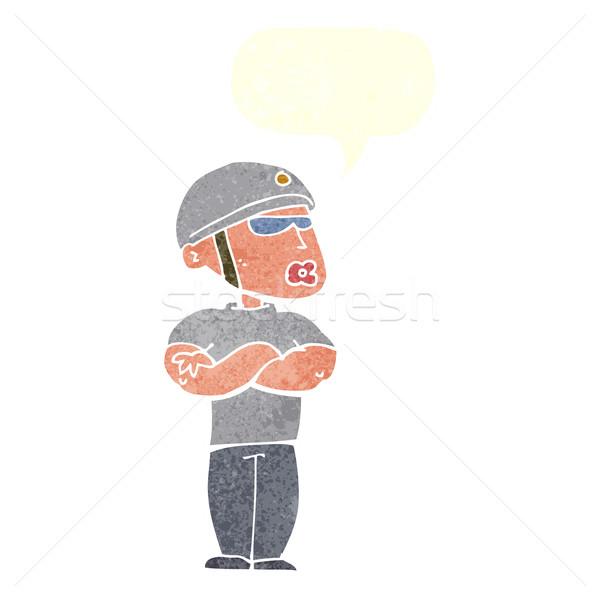 Desenho animado guarda de segurança balão de fala mão homem projeto Foto stock © lineartestpilot