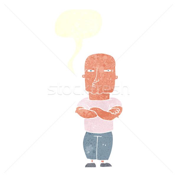 Karikatür sert adam konuşma balonu el adam Stok fotoğraf © lineartestpilot