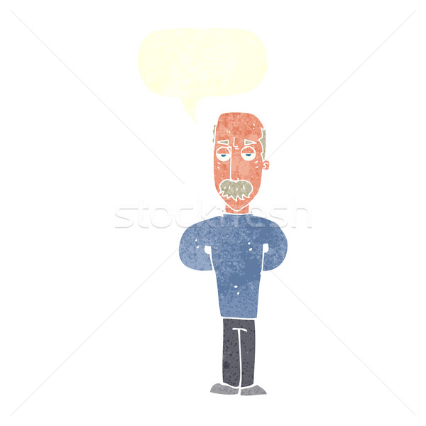 cartoon annoyed balding man with speech bubble Stock photo © lineartestpilot