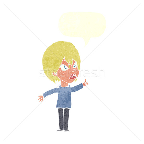 cartoon woman arguing with speech bubble Stock photo © lineartestpilot