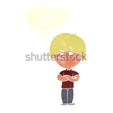 Rajz gyanús férfi szövegbuborék kéz szemek Stock fotó © lineartestpilot