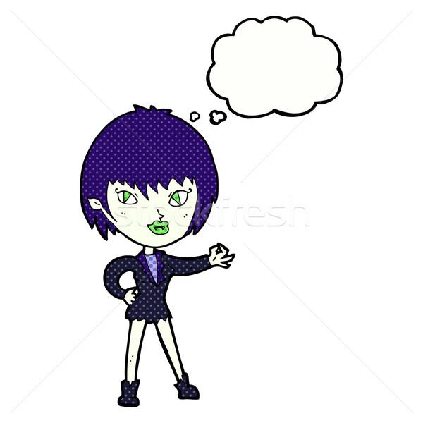 Desenho animado vampiro menina balão de pensamento mulher mão Foto stock © lineartestpilot