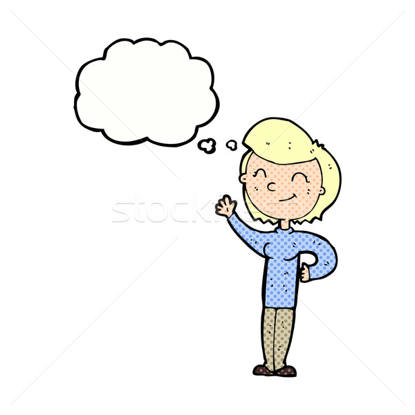 Cartoon przyjazny kobieta bubble myśl strony Zdjęcia stock © lineartestpilot