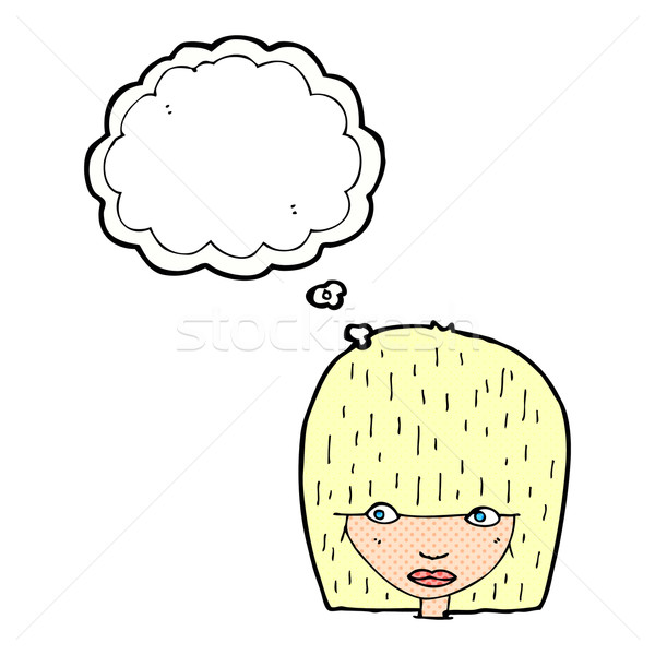 cartoon female face staring with thought bubble Stock photo © lineartestpilot