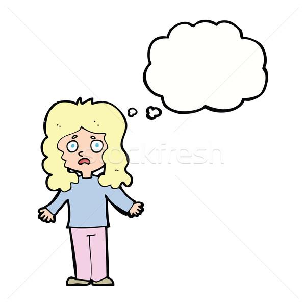 Cartoon женщину мысли пузырь стороны дизайна Сток-фото © lineartestpilot